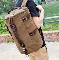 High Quality Fashion Black and Coffee Cotton Canvas Dual Function Men's Travel Bags Carry on Luggage with Zipper Free Shipping
