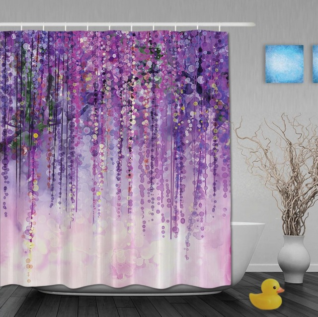 Custom Watercolor Drawing Purple Flower Shinny Springday Shower Curtains Waterproof Fabric With Hooks Bathroom Curtain