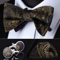 Bolso praça do partido clássico casamento BZP04Z cinza ouro Paisley Men Silk auto gravata borboleta lenço abotoaduras set