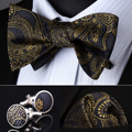 Pocket Square Classic Party Wedding BZP04Z Gold Gray Paisley Men Silk Self Bow Tie handkerchief Cufflinks set