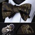 Pocket Square partido clásico de la boda BZP04Z oro gris Paisley Men seda auto pajarita pañuelo gemelos set