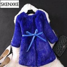 2020 Hot Koop Vrouwen Winter 100% Echte Echt Konijnenbont Jas Natuurlijke Warm Rabbit Fur Jacket Lady Fashio Lange Real bont Bovenkleding