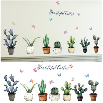 Creative Pot Plant Cactus Wall Stickers Vinyl DIY Art Mural for Living Room Bedroom Kitchen Glass Window Decoration Sticker