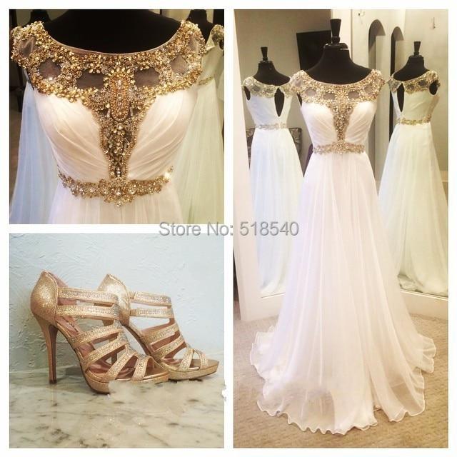 free shipping customize 2015 elegant formal white chiffon gold beads
