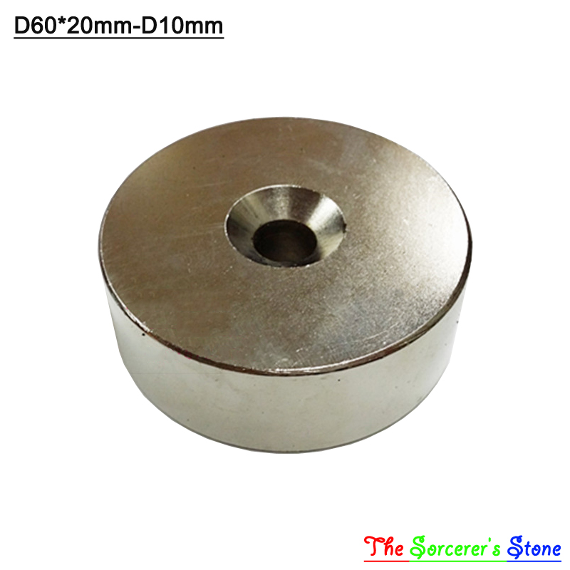 1pcs Super Strong Dia 60x20mm With hole 10mm Rare Earth Neodymium Disc Magnet  N52 Free Shipping powerfull pot magnet magnet super heavy magnetic hook holder neodymium rare earth dia 10mm hot sale 2pc