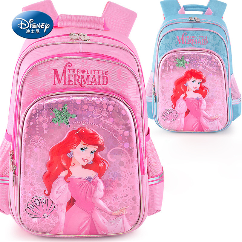 Disney 2018 Mermaid Princess School Bags Protect the Spine Backpack Schoolbag Kids Backpack School Bags for Girls Grade 1-3