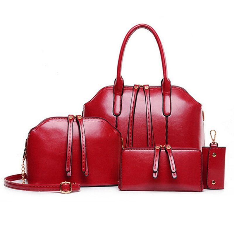 Hot Sale Wax oiled Leather font b Handbag b font Women Composite Bag Female Shoulder Crossbody