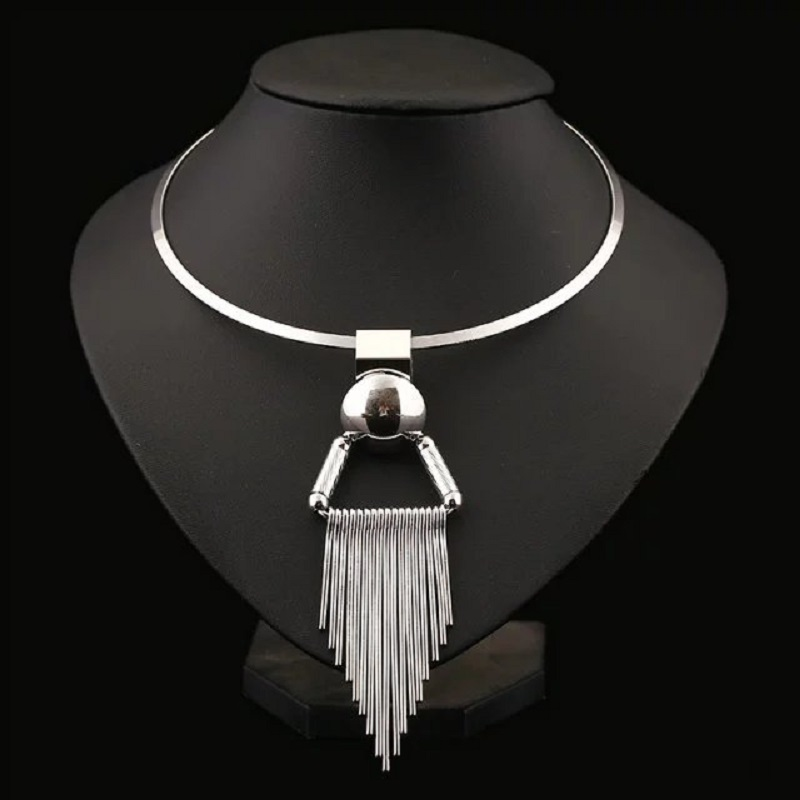 2017 New Fashion Long Bohemia Crystal Silver Plated Maxi Statement Necklace Tassel Punk Power Choker Necklace Women Fine Jewelry