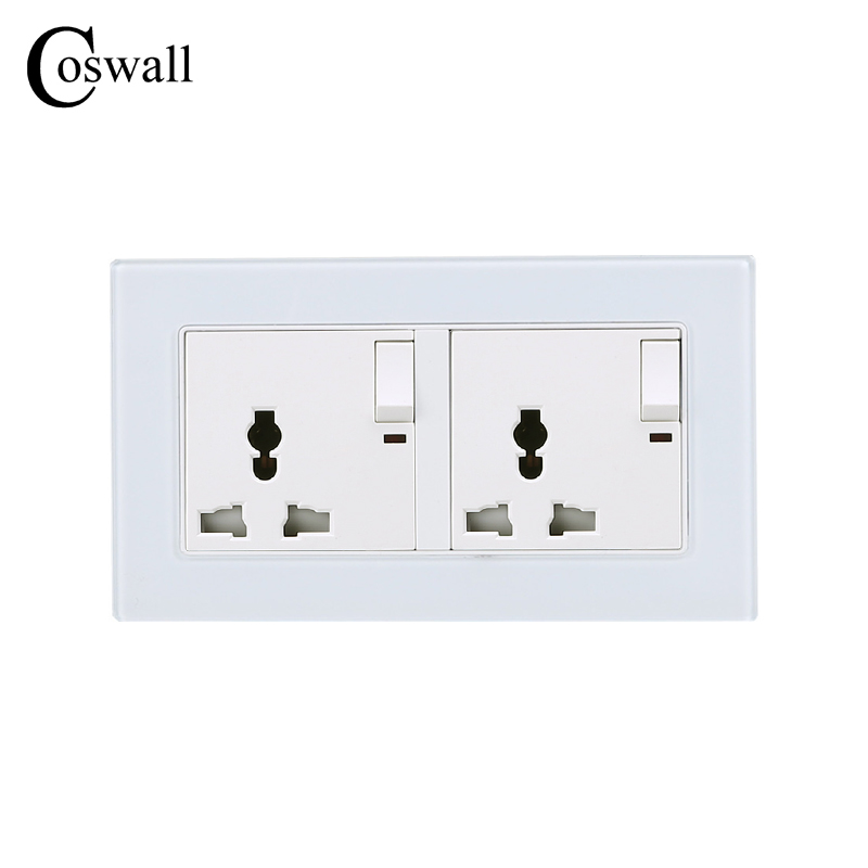 COSWALL 146 UK Double Universal Switched Socket with Neon Luxury Wall Power Outlet Enchufe Crystal Tempered Glass Panel atlantic switch tempered glass phone tv socket model luxury crystal glass panel weak current socket telephone television outlet