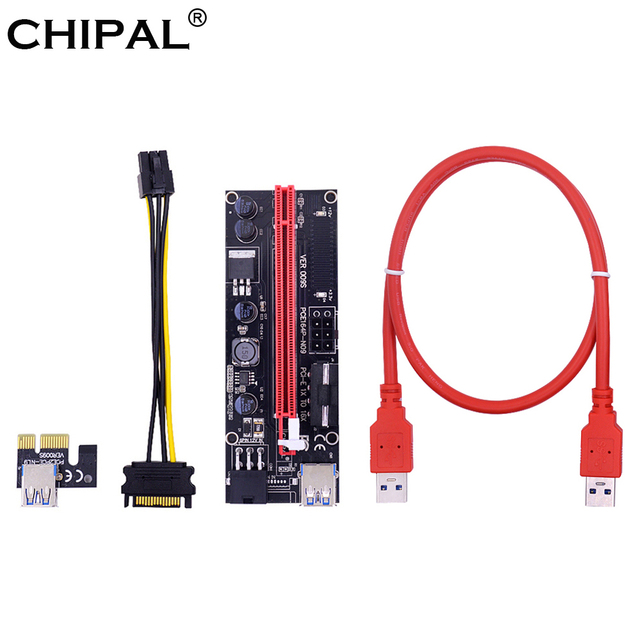 CHIPAL Dual LED VER009S PCI-E Riser Card 009S PCI Express 1X to 16X 0.6M USB 3.0 Cable 6Pin Molex Power for Bitcoin Miner Mining
