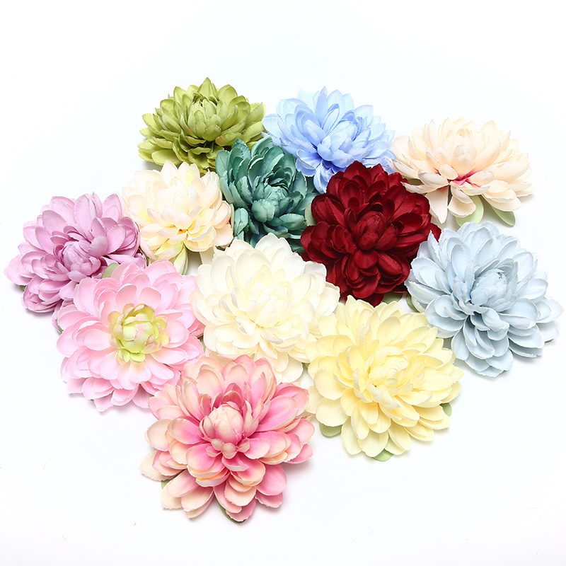 1pcs new high quality silk dahlia artificial flower head For wedding party decoration DIY flower wall headdress brooch in Artificial Dried Flowers from Home Garden