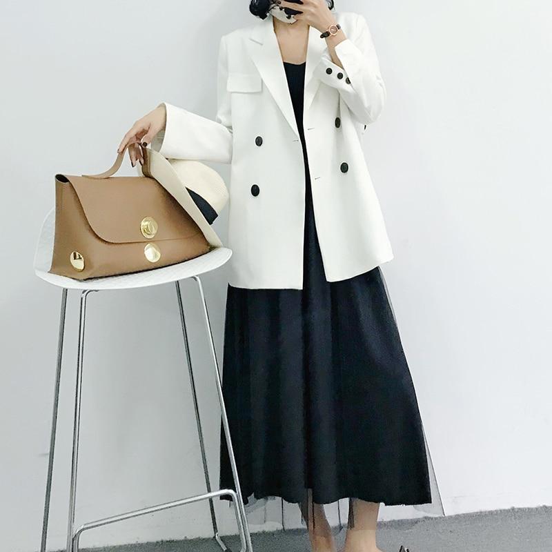 White Suit Women Blazer 2018 Office Lady Autumn Double Breasted New Korean Slim Fashion Long Women Blazers and Jackets Plus Size