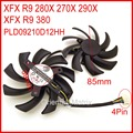 2pcs/lot POWER LOGIC PLD09210D12HH DC12V 0.40A 85mm 39*39*39mm 4Pin For XFX R9 380 280X 270X 290X Graphics Card Cooling Fan