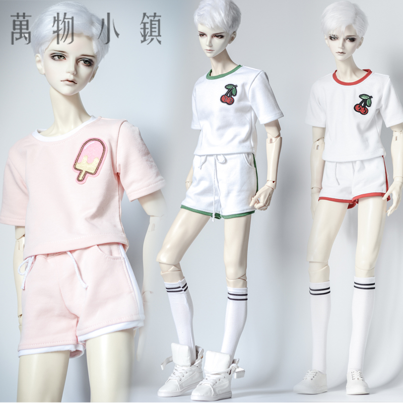 NEW Youth 1/3 1/4 Uncle SD10 BOY MSD BJD Doll Clothes Green /Red /Pink Printing Sport Suit new handsome fashion stripe black gray coat pants uncle 1 3 1 4 boy sd10 girl bjd doll sd msd clothes