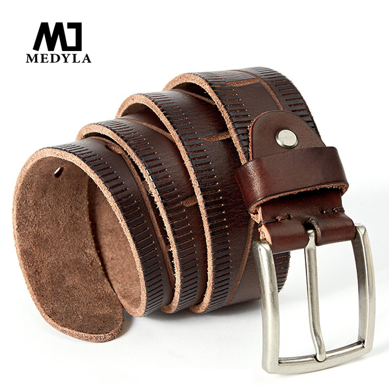 MEDYLA 2018New hot sales full-leather casual mens belt, mens gift casual jeans soft leather belts for men 3.8cm wide 130cm