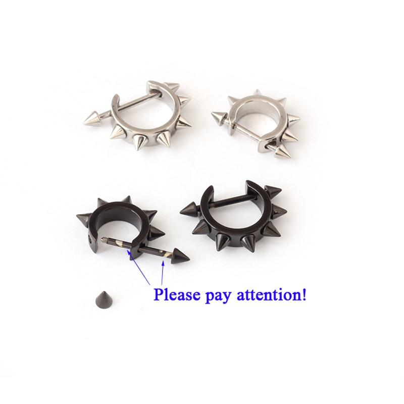 2Pairs Mens Womens Punk Rock Rivet Ear Studs Spike Stainless Steel Earrings  JX