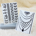 2017 Hot Sale 2x OPHIR Silver & Gold Tattoo Set Necklace Designs Metalic Flash Tattoos for Beauty Body Decoration _MT021S+MT022S