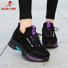 ALLENLYNN New Hot Sale Warm Add Fur Sneakers Women 2019 Winter Fashion mixed-color Tennis Shoes Woman Height Increasing