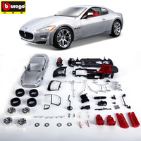 DIY Assembly Cars Model Silver Color Maserati 1:24 Alloy Car Static Model Sports Car Collection Model Color Box Package Toys