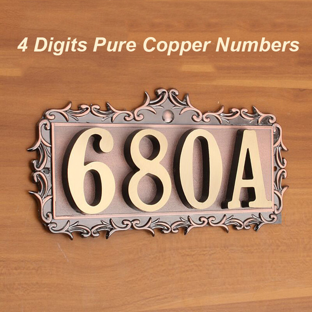 4 Digits House Number 180*83*2.5mm European Style Pure Copper Gate ...