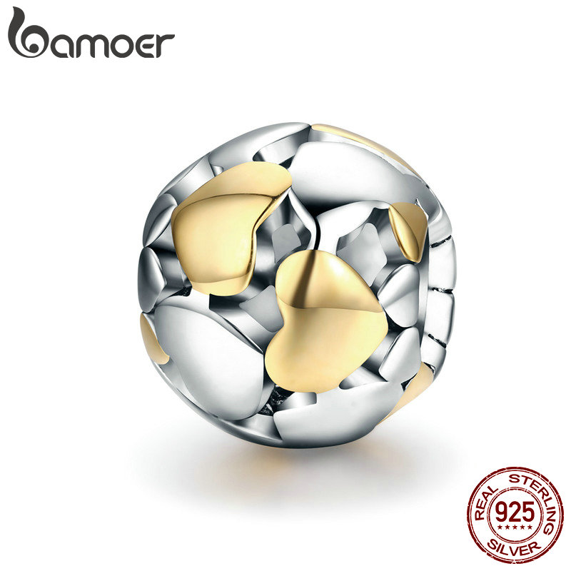 BAMOER 100% 925 Sterling Silver Luminous Heart & Gold Heart Charms Beads fit Charm Bracelet Valentine Day Gift S925 SCC537 valentine s day petals heart pattern waterproof table cloth