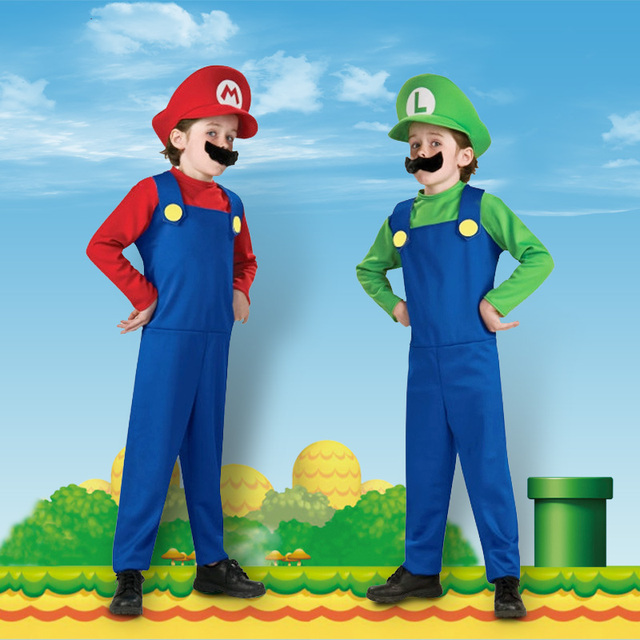 Children Funy Cosplay Costume Super Mario Luigi Brothers Plumber Fancy Dress Up Party Costume Cute Kids Costume Free Shipping