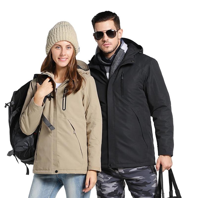 Men Women Winter USB Heating Thick Cotton Jacket Unisex Outdoor Waterproof Windbreaker Hiking Camping Trekking Climbing Coats