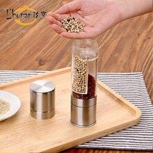 2 In 1 Acryl flasche Edelstahl außerhalb Pfeffer Salz Gewürzmühle gedreht Grinder Kitchen Tool Kochen Werkzeuge