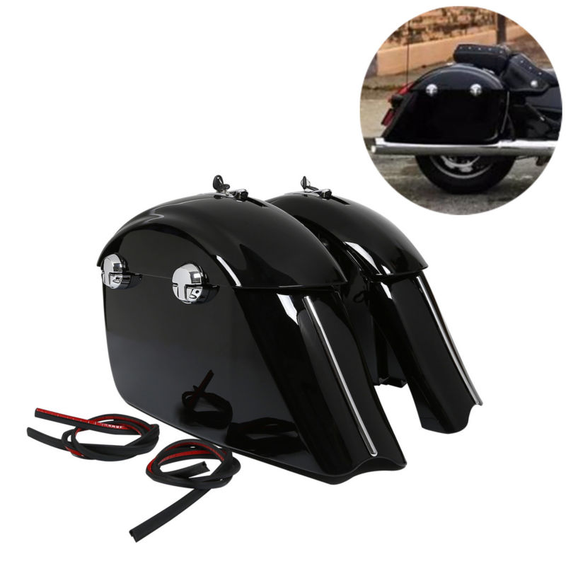 Gloss Black Saddlebag W/ Electronic Latch Assembly For Indian Roadmaster Springfield Chieftain 14-18 Limited 17-18 jd 57 1 14 truck head latch assembly