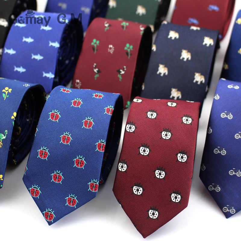 Corbatas de Jacquard de poliéster para hombres corbatas de animales para traje de negocios para boda 6cm corbatas de cuello ancho ajustadas Gravatas Accesorios