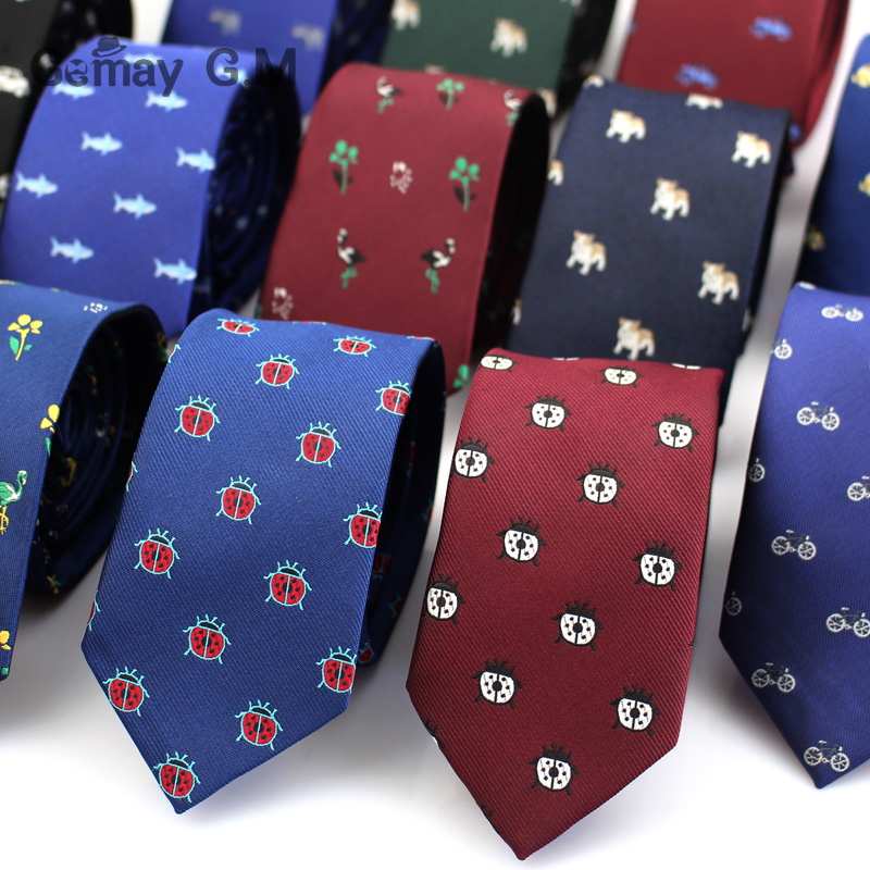 Polyester Jacquard Ties For Men Animal Neckties for Wedding Business Suits 6cm Skinny Wide Neck Ties Slim Gravatas Accessories(China)