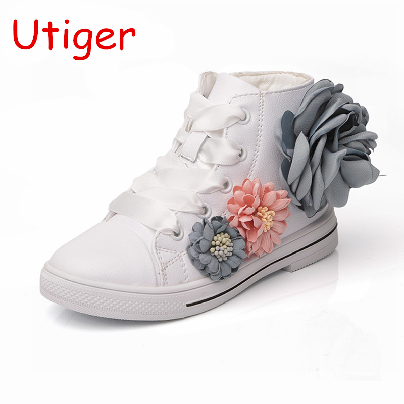 separation shoes 18dcb 8943c Children Girl Sneaker Shoes Flower Spring Baby Girl Kid shoes High Top  Princess Child Footwear Lace UP shoes size 21-35 pink