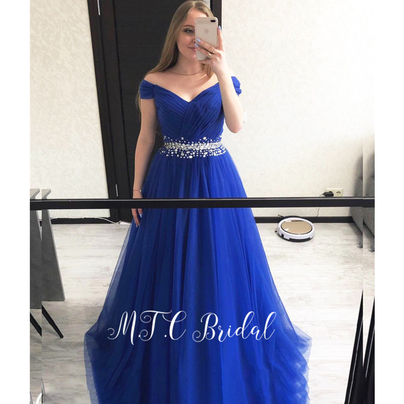 Gorgeous Royal Blue   Evening     Dresses   Glitter Crystals Tulle Off The Shoulder A Line Long Prom Gowns 2019 Cheap Women Party   Dress