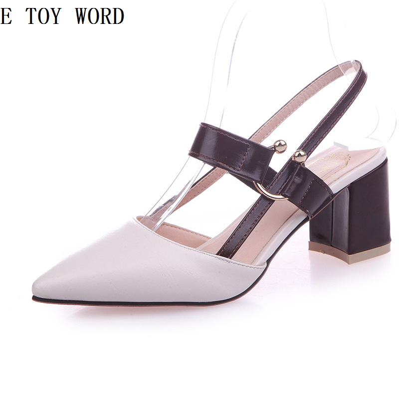 Spring New Wild Korean Shallow mouth Word buckle Thick with Womens shoes Rivet Baotou High heels.