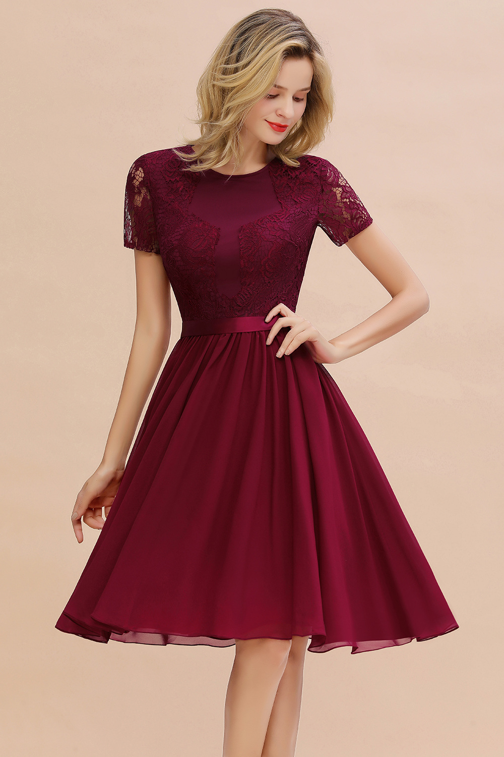 2020 Knee Length Cocktail Dresses Sexy Lace Short Formal Party Gown Elegant Women robe coctail