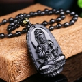 NOV. 4-10TH Natural Black Obsidian Carved Buddha Lucky Amulet Pendant Necklace For Women Men pendants Jade Jewelry 48*32mm