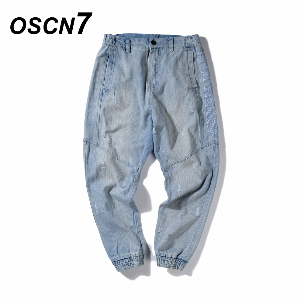 OSCN7 Fashion Jeans Men Letter Embroidery Hip Hop Casual Mens Denim Jean Pants Plus Size Denim Long Trousers стоимость