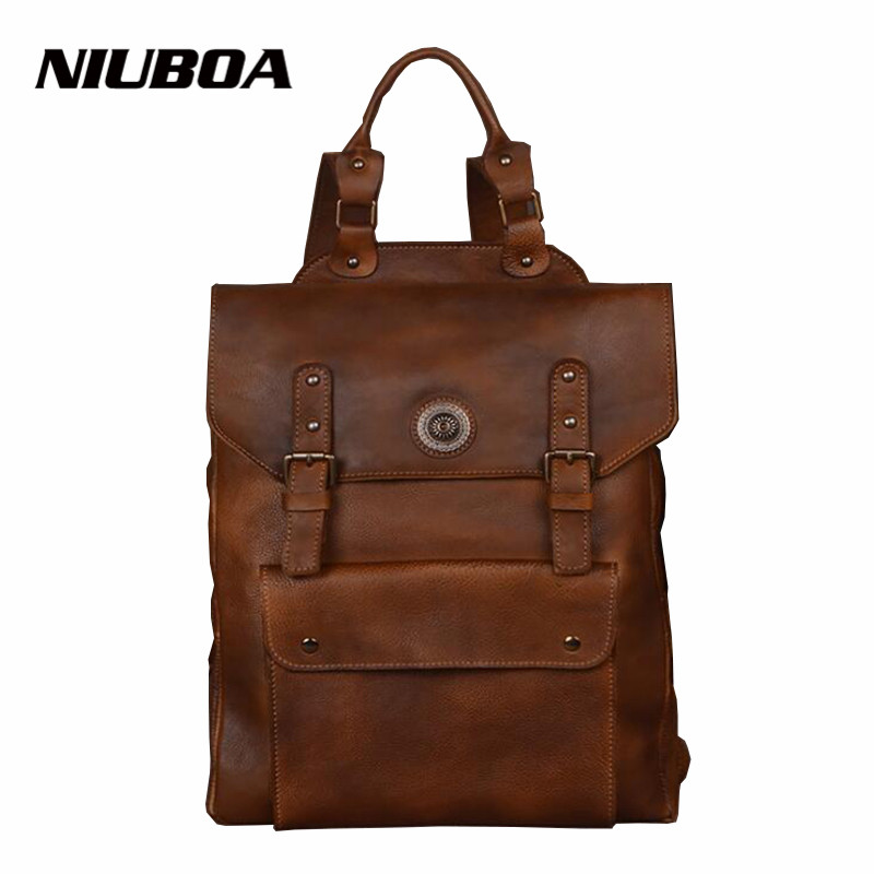 NIUBOA Genuine Leather Men Backpack Large Capacity Travel Bags High Quality Business Rucksack For Man Leisure 15 Laptop Backbag