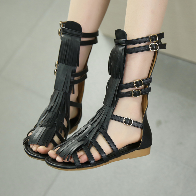 ФОТО Top quality Girls sandals microfiber Tassel children shoes Kids Roman Gladiator sandals Fashion summer beach Shoes Free shipping