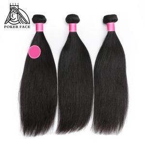 Hair-Weaves Brazilian Remy-Hair Straight 1-3 Poker-Face Natural-Color Inchs 8-30
