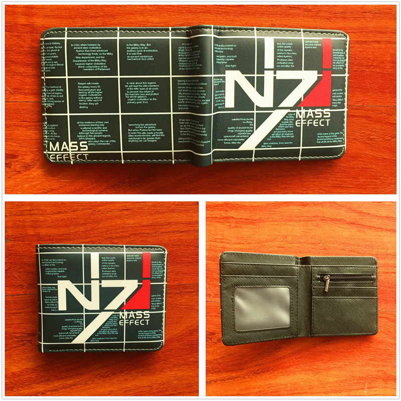 N7 Mass Effect PU Wallet Short Purse Bifold Quality Money Bag Card Holders wallet Unisex Leather Pu Short folding Purse W750 moana maui high quality pu short wallet purse with button