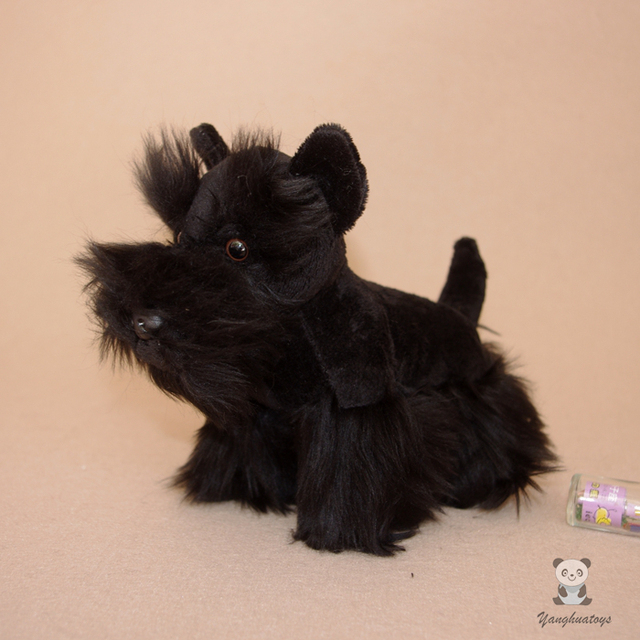 Simulation Dogs Dolls Plush Animals Toy Cute Schnauzer Doll Toys Children Gift Black
