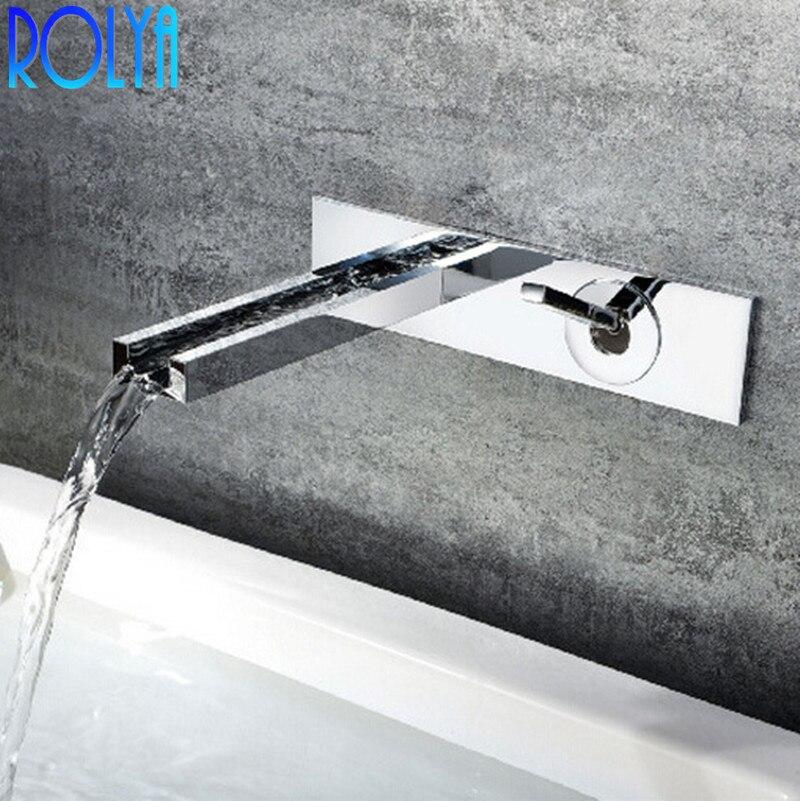 Rolya Cubix cascade dans le robinet de lavabo mural en gros Promotion de luxe Chrome finition laiton robinet de salle de bainRolya Cubix cascade dans le robinet de lavabo mural en gros Promotion de luxe Chrome finition laiton robinet de salle de bain