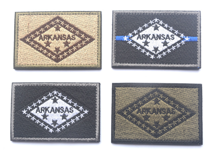 Embroidery America <font><b>Arkansas</b></font> Flag Patch 3D Military Tactical Patch Hook And Loops Morale Armband Combat Gear Army Badge 4pcs image
