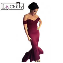 La Chilly formal dress Special occassion Maroon Off-shoulder Mermaid Jersey  Party Long Dress LC60171 Party Gowns Vestidos Largo 702e1db61586