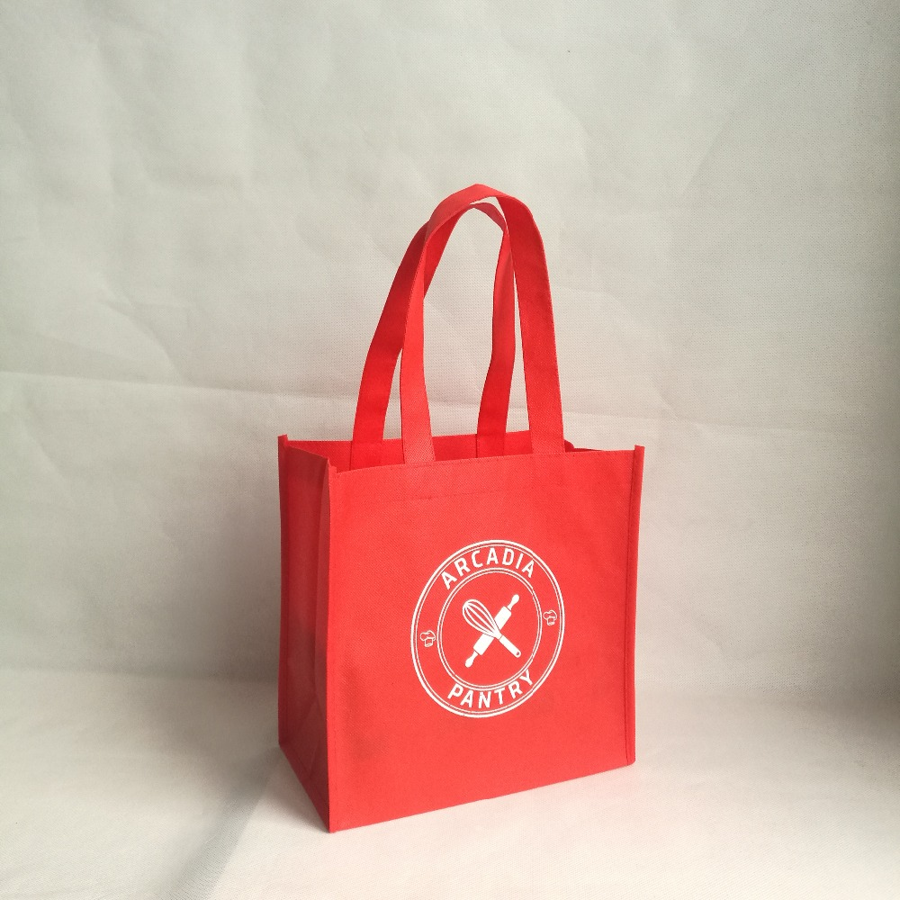 Whole Custom Red Non Woven Bag Simple Style Polyester Tote Reticule Ping Bags For Snacks Cloth Shoes Handbags