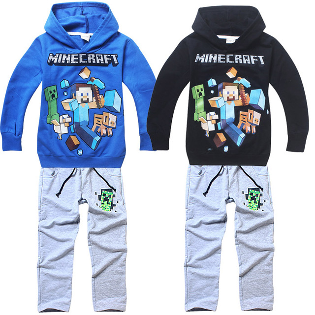 2018 детская Футболка с длинным рукавом и штаны набор Minecraft детская хлопковая Спортивная одежда для мальчиков с длинными рукавами футболки Костюмы