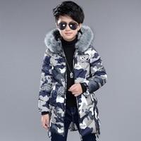 2017 Fashion New Winter Jacket For Boy Kids Thicken Hooded Fur Collar Down Jacket Children Warm