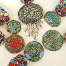 TNL410 тибетское красочное бисерное ожерелье из кости яка с большими подвесками Радуга