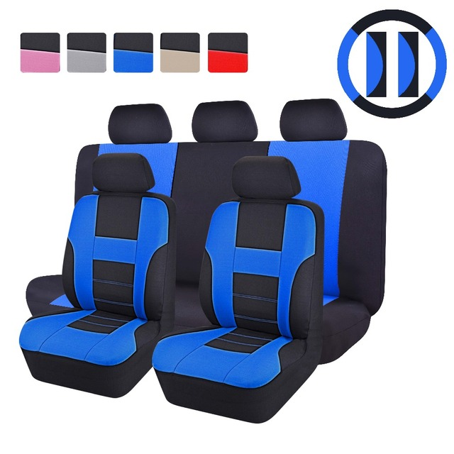 (Auto Interior Zone) 2016 New Styling Front Rear Universal Car Seat Covers 9 Pieces/Set Luxury Auto Cute Pink Car Seat protector
